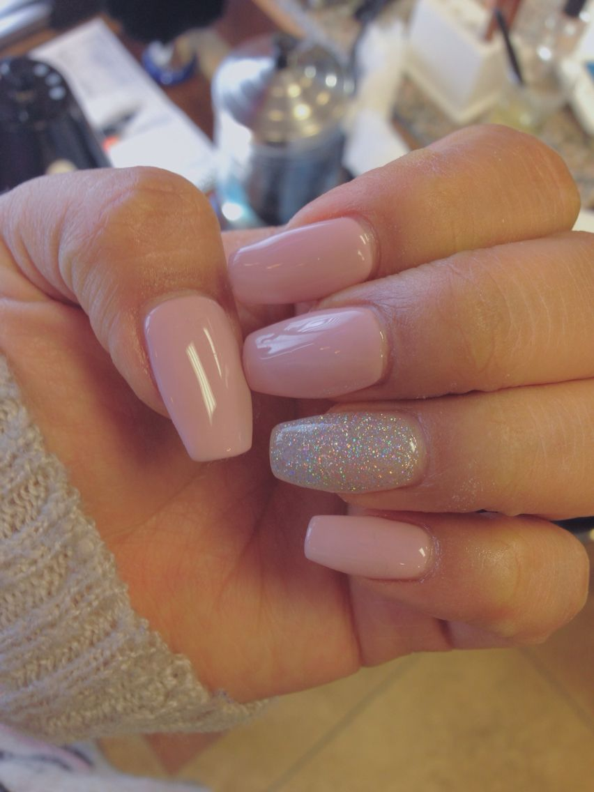 Coffin nails:: mauve pink with glitter | Nails nails and more nails ...