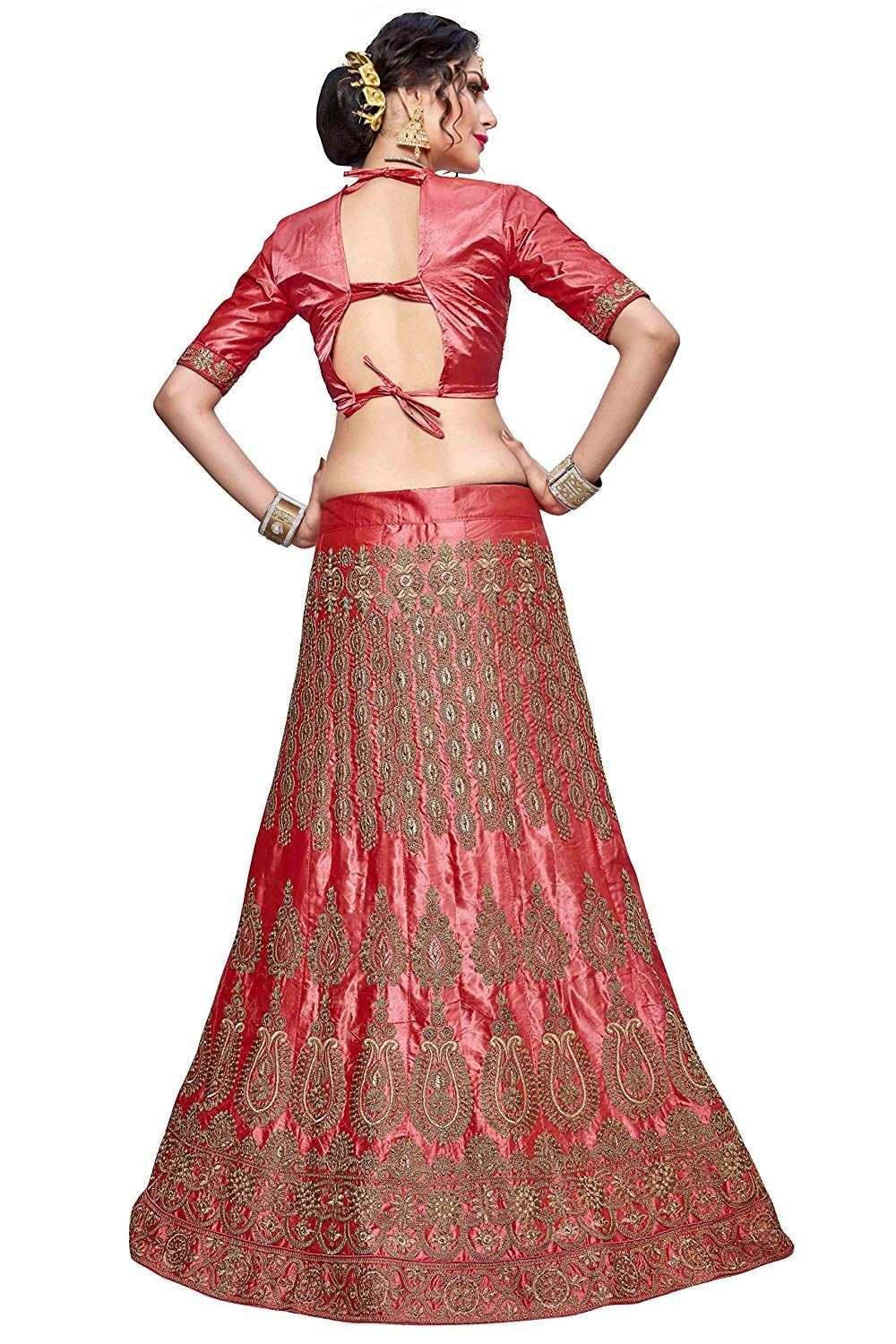 Manvaa bangalori silk women   embroidered lehenga in peach color amazon clothing also rh pinterest
