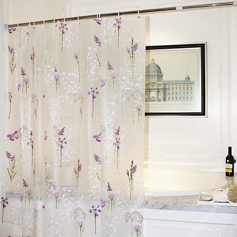 Purple Flower With Butterfly Bathroom Shower Curtain Floral Clear