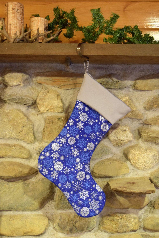 Snowflake Christmas Stocking/ Silver and Blue Metallic Snowflake ...