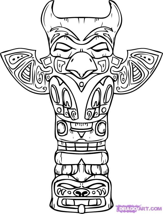 native american coloring pages | totem pole coloring pages - native ...