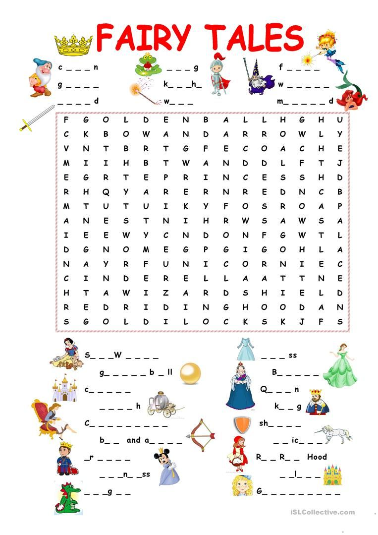45 FREE ESL fairy tales worksheets   Fairy tales kindergarten [ 1079 x 763 Pixel ]
