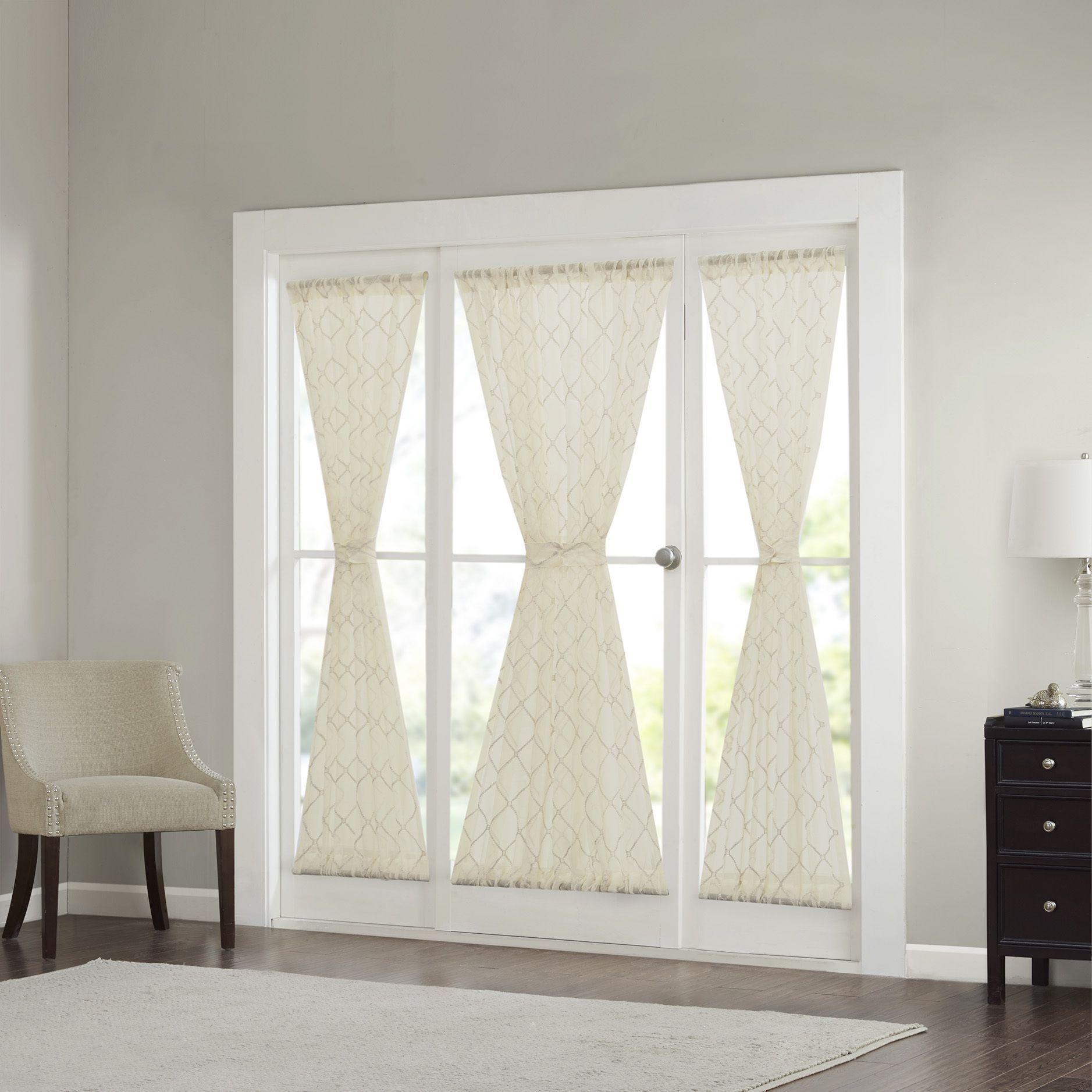 Madison park iris diamond sheer door curtain panel color option