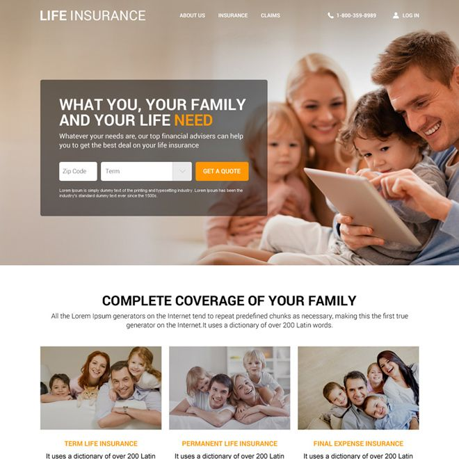 Download Responsive Life Insurance Agency Website Design Template