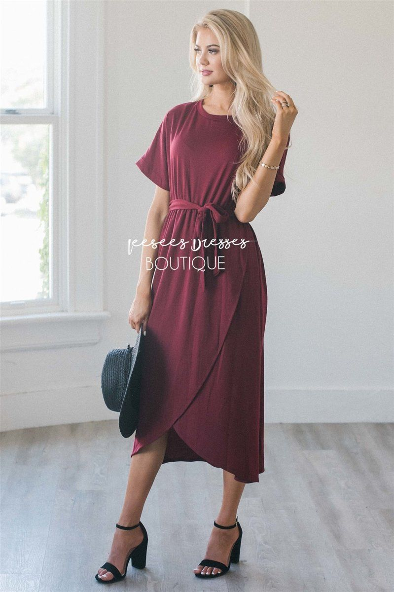Burgundy Church Dress