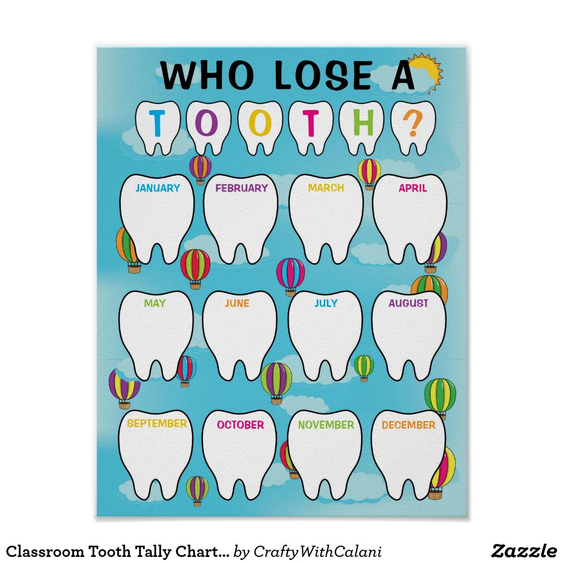 Classroom Tooth Tally Chart In Hot Air Balloons