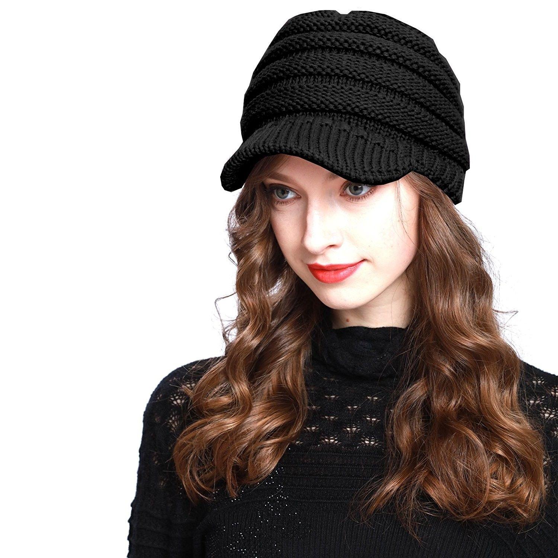 Bv2311 Cable Ribbed Knit Beanie Hat W Visor Brim Chunky Winter Skully Cap Black Cd12mzfo7ho Knit Beanie Hat Knit Beanie Beanie Hats