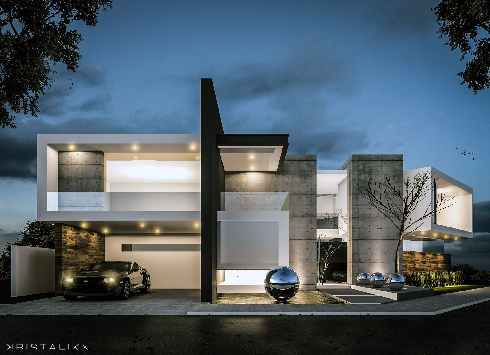 M m house architecture modern facade contemporary for Facade villa moderne