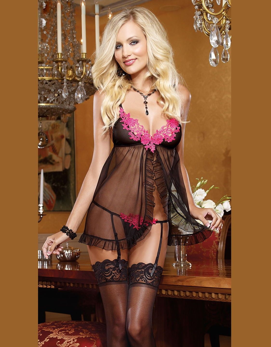 ccf88415d6 Seductive Black Sheer Mesh Open Front Babydoll Lingerie With Pink floral  and Thong