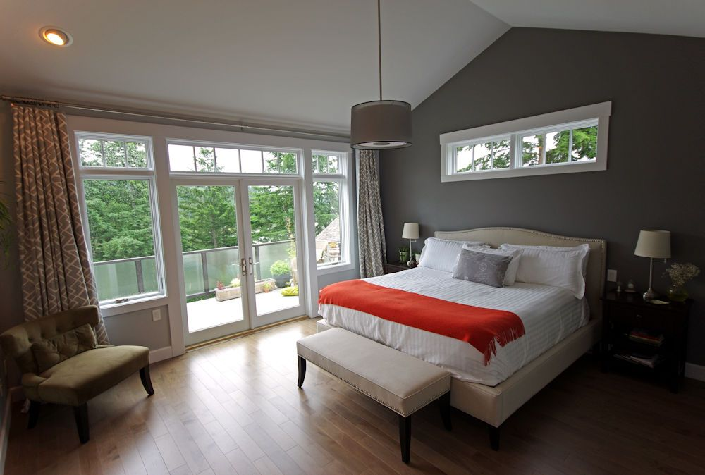 Master Bedroom With White French Doors To Back Patio This Custom Three Story Home Fe Large Master Bedroom Ideas Living Room Patio Doors Patio Furniture Layout