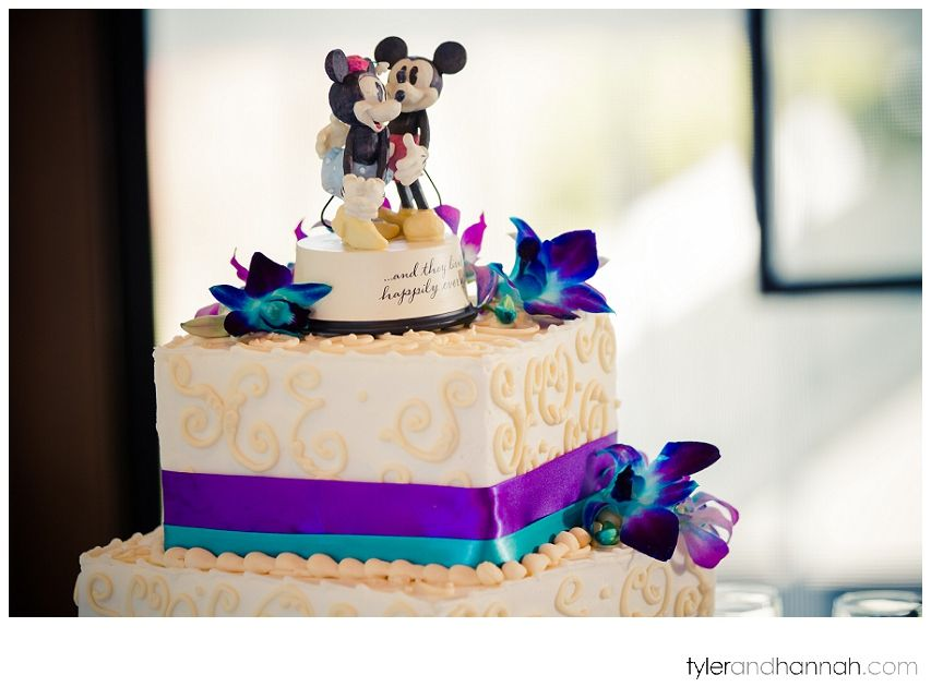 It doesn't get much cuter than this! Micky and Mini Mouse on top of the cake at this beautiful Wedding at the John Wayne Marina in Sequim, WA | Tyler and Hannah Photography #wedding #cake