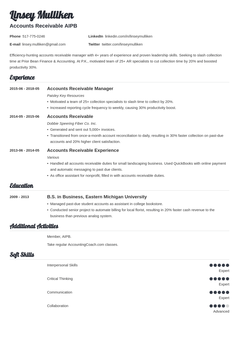 accounts receivable resume example template valera in 2020