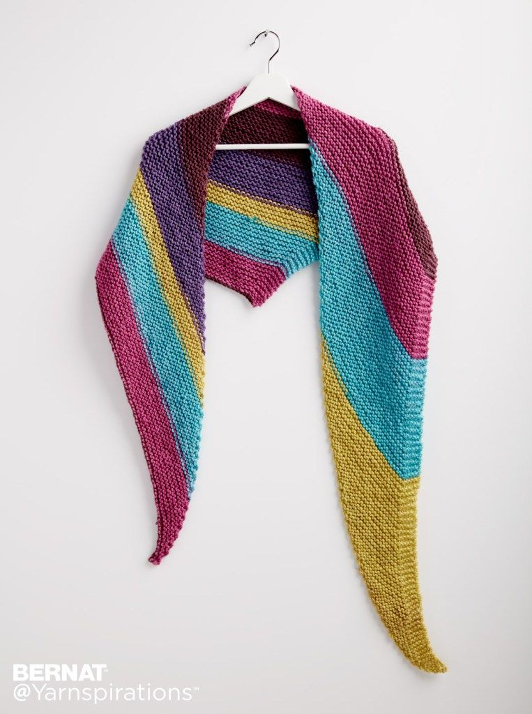 Bernat Pop Knit Triangle Shawl Knitting Shawls Shawlettes Gorgeous Bernat Pop Yarn Patterns