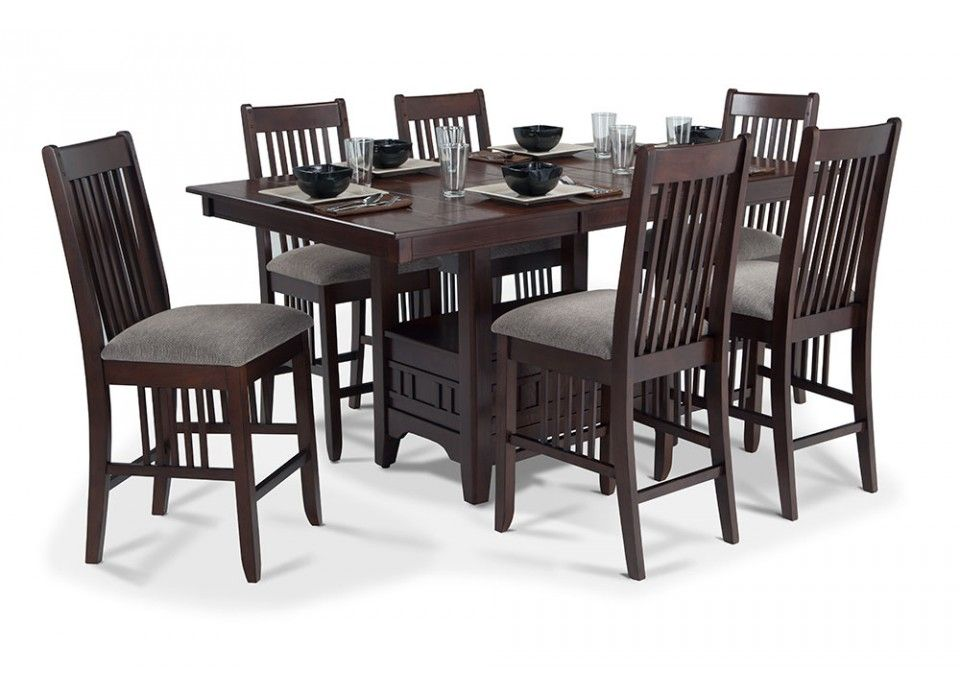 Wellfleet Pub 7 Piece Dining Set Round Dining Room Furniture Dining Table Dining Room Sets