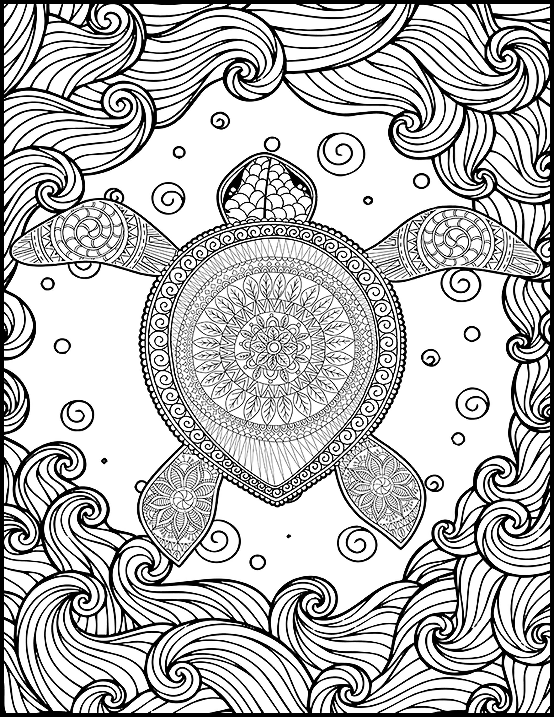 Animal Adult Coloring Page - Turtle Coloring Page for ...