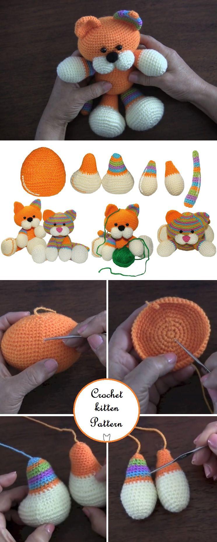 Crochet Cute Kitten - Pattern | Animales tejidos, Patrones amigurumi ...