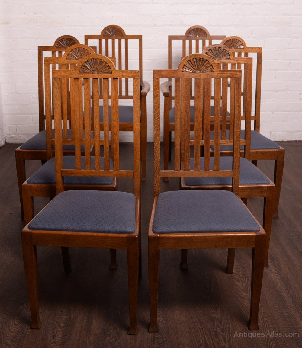 Superb Set Of 8 Oak Arts And Crafts Chairs Antiques Atlas