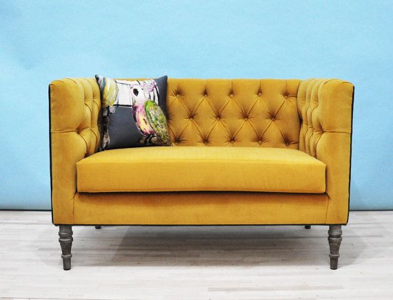 gold fabric tufted loveseat Home Living Room Pinterest