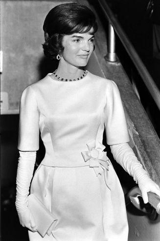 Jackie Kennedy during her husband's Inaugural Gala, January 1961.