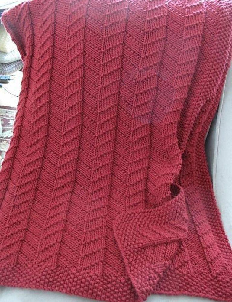e1cbfec882bf Knitting Pattern for Mimic Reversible Blanket - Ribbed diagonal ...