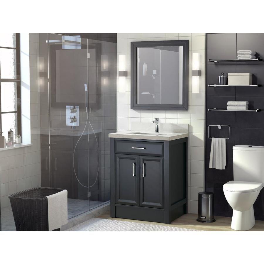 Spa Bathe Calumet 28 In Pepper Gray Undermount Single Sink Bathroom Vanity With White And Grey Veins Engineered Stone Top Lowes Com In 2021 Single Sink Bathroom Vanity Bathroom Sink Vanity Gray And [ jpg ]