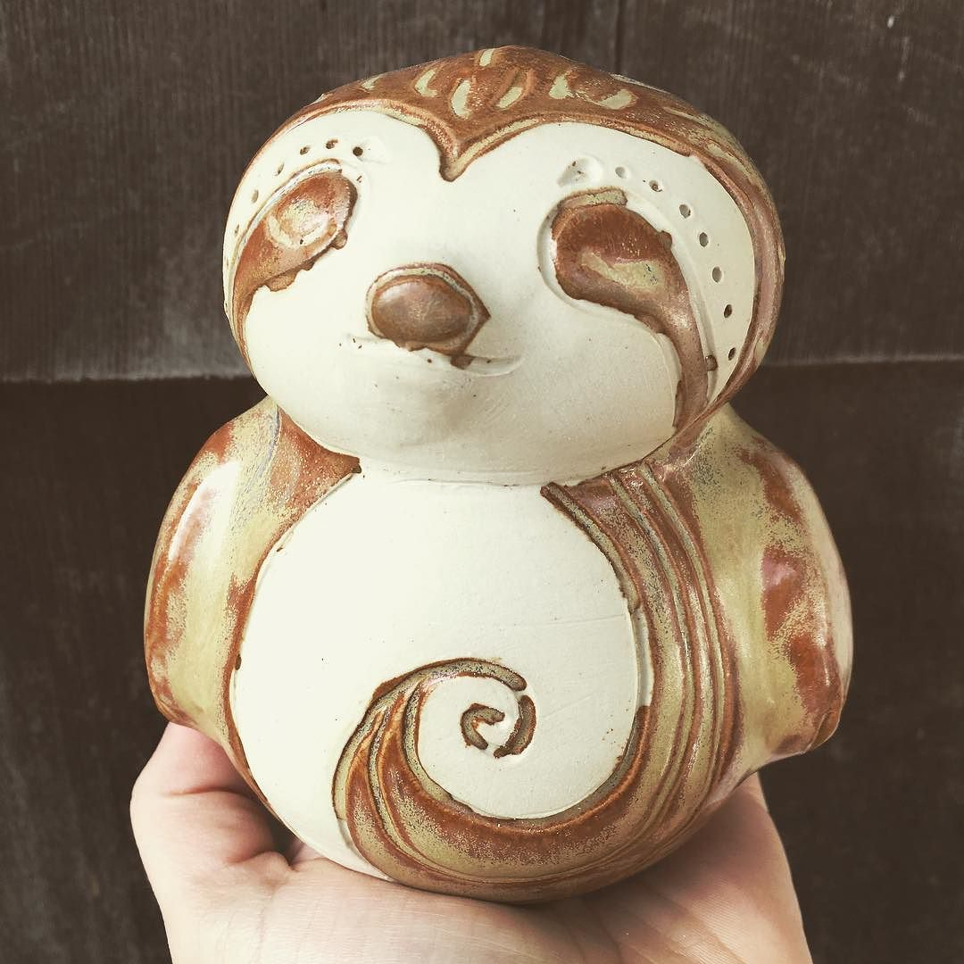 A sleepy shino sloth bank! Making lots of more animal inspired things for the next shop update and lots of custom orders! You guys rock ! by pitchpineworkshop