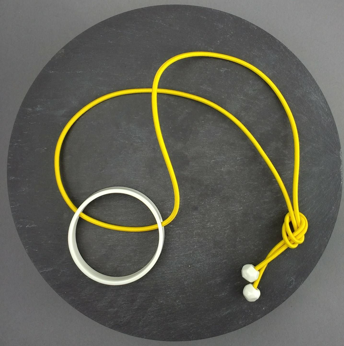 Big circle geo pendant necklace porcelain pendant yellow
