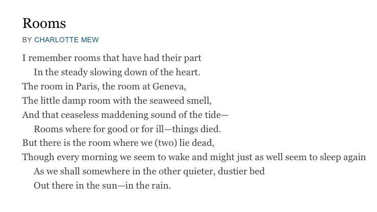 Resultado de imagen para poem rooms by charlotte mew