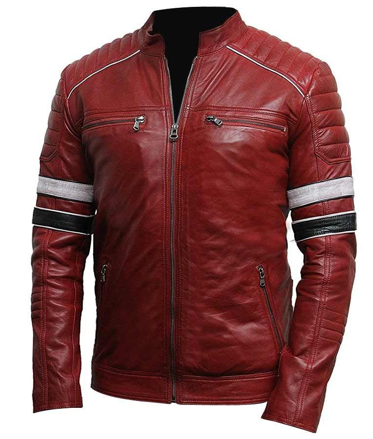 Mens Striped Shoulder Padded Café Racer Red Biker Leather Jacket