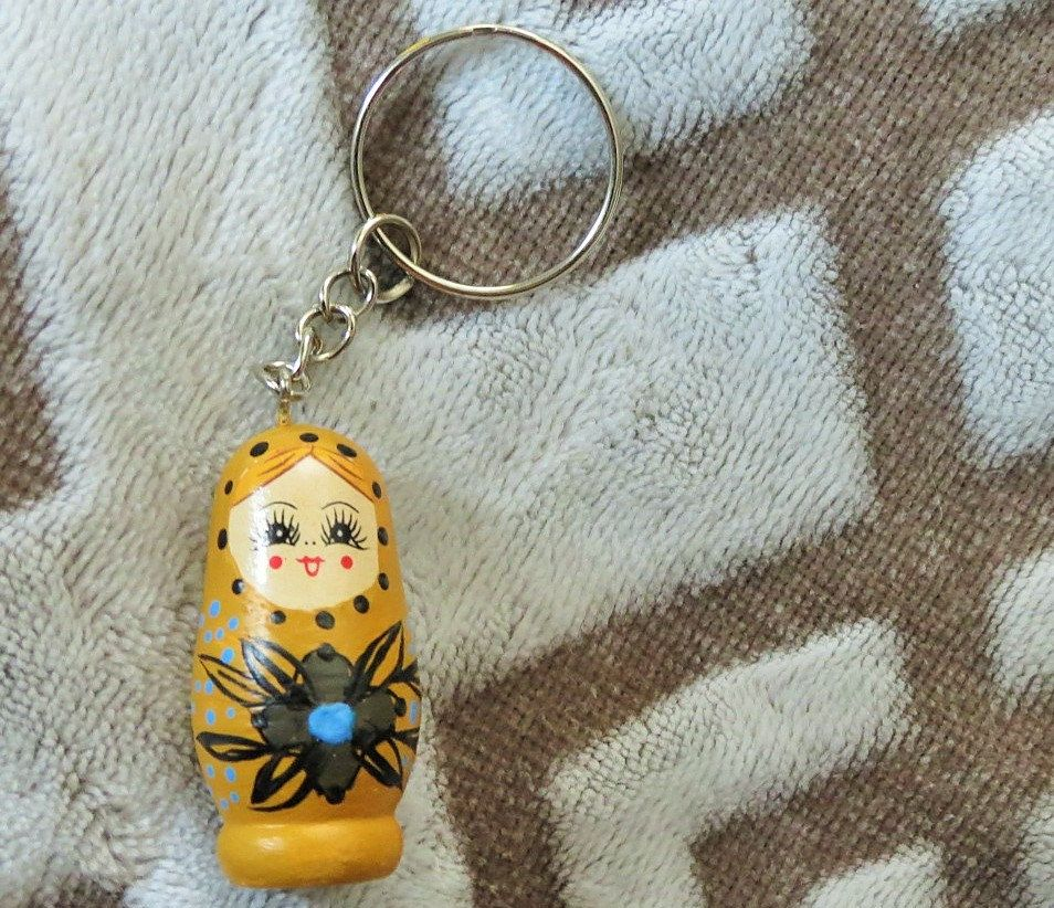 Russian Doll Matryoshka Hand Painted Flowers Lanyard Mothers Day Gift  Keychain Nesting Doll Mini Doll Zipper Pull Gift Yellow Bag Charm by UniqueSnowflake on Etsy