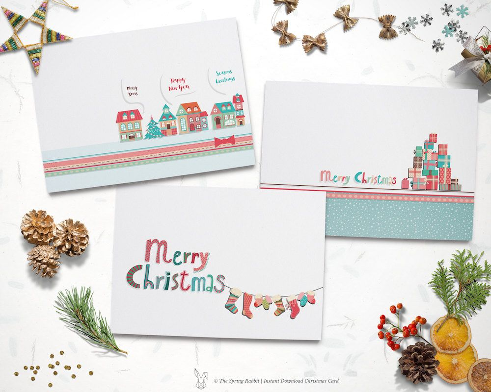 Printable set of 3 christmas cards holiday card do it yourself printable set of 3 christmas cards holiday card do it yourself printable christmas card instant download solutioingenieria Gallery
