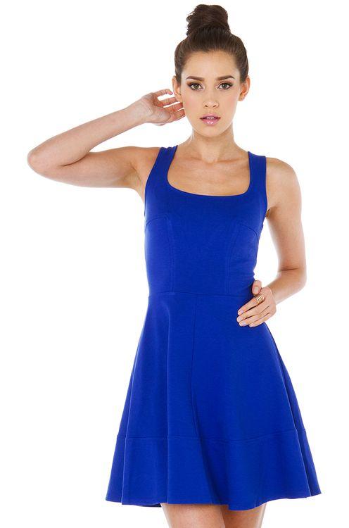 Cute Cobalt Blue Skater Mini Dress | AKIRA