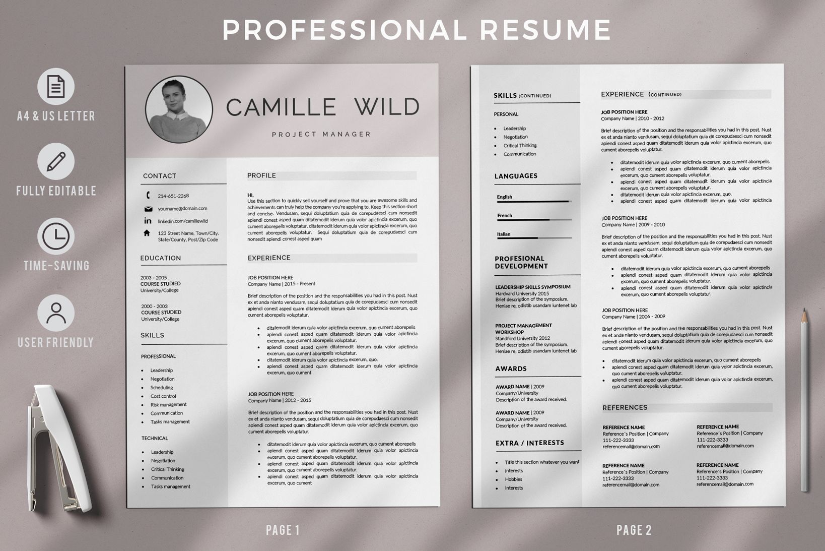 Creative Resume Templates For Ms Word And Mac Pages Professional Resume Template Cover Letter For Resume Cv Template Professional Downloadable Resume Template