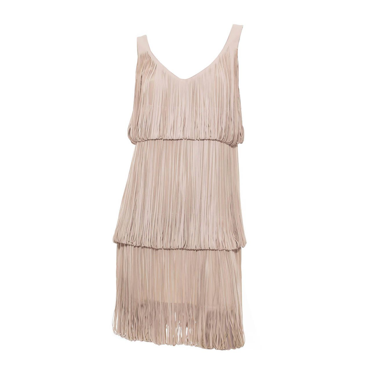 Alexander McQueen Leather Fringe Dress | From a collection of rare vintage day dresses at https://www.1stdibs.com/fashion/clothing/day-dresses/