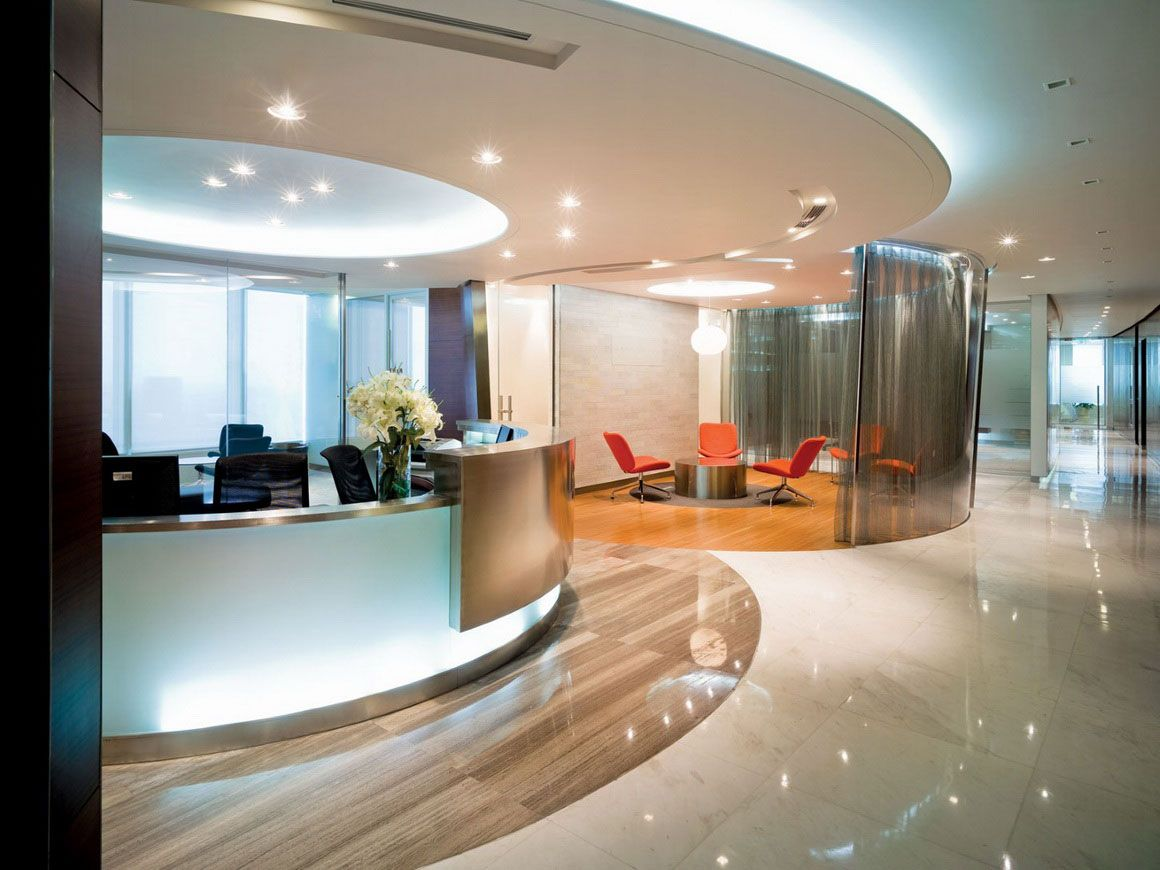 Luxury Office Interior Round Ceiling Commercial Office Interior Design Ideas  Equipped With Rounded Front Desk Design Idea In White Color