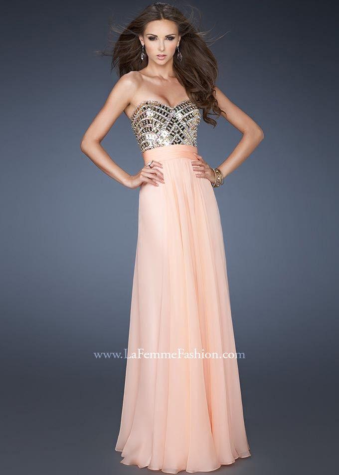 Apricot Embellished Chiffon Floor Length Prom Dresses By La Femme 18518