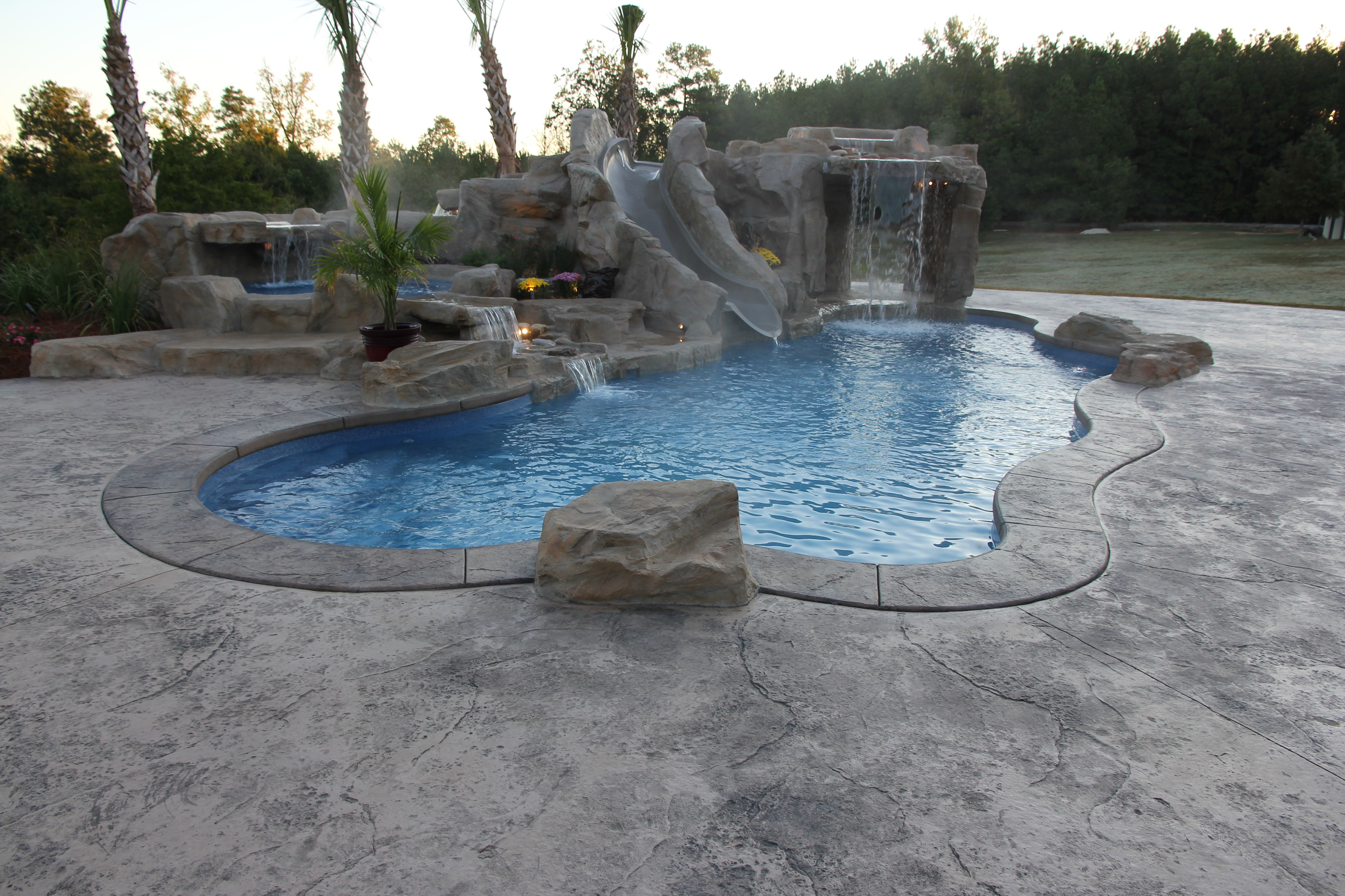 viking caribbean fiberglass pool with rico rock cave waterfall
