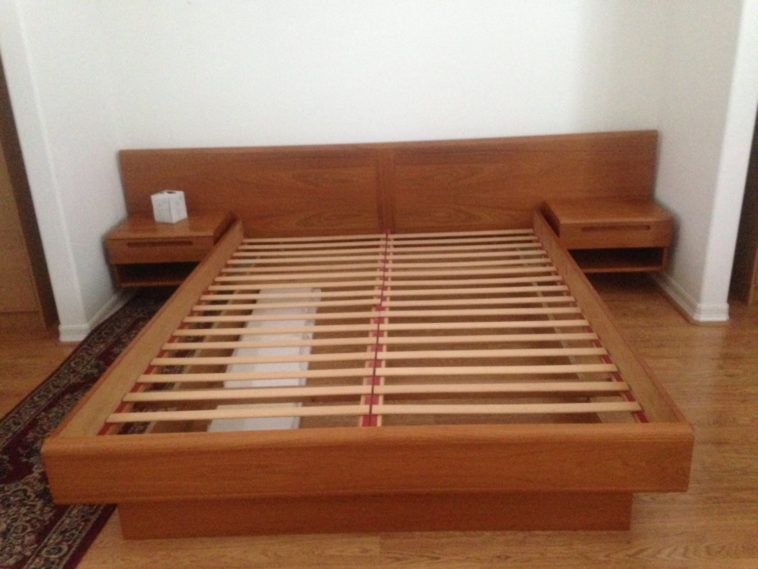 mid century wood queen platform bed frame with side tables