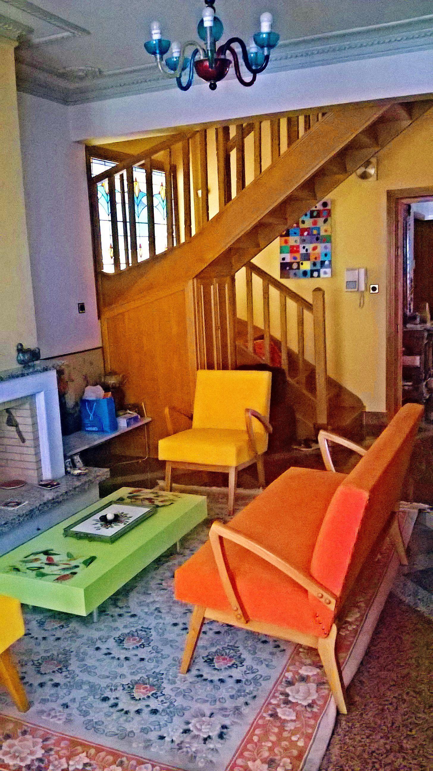 Eclectic colorful vintage chairs modern green coffee