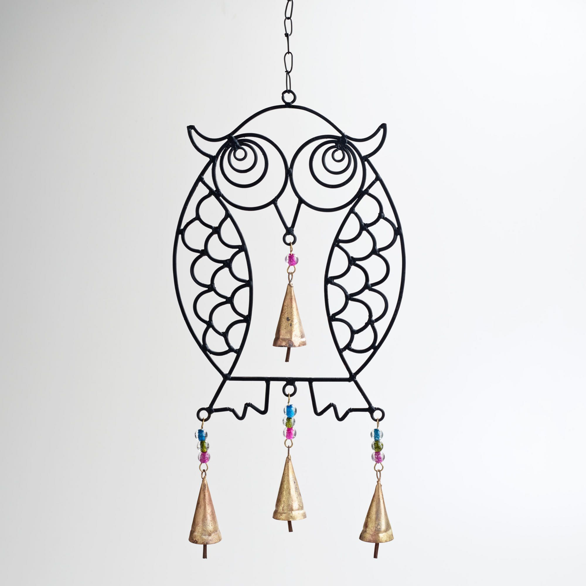 Iron and glass bead owl wind chime iron wall accessories and walls