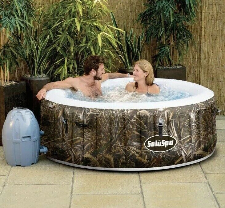 Saluspa Realtree Max 5 Airjet 4 Person Portable Inflatable Hot Tub Spa Camo Spa Hottub Massage Jacuzzi Hot Tub Spa Hot Tubs Hot Tub