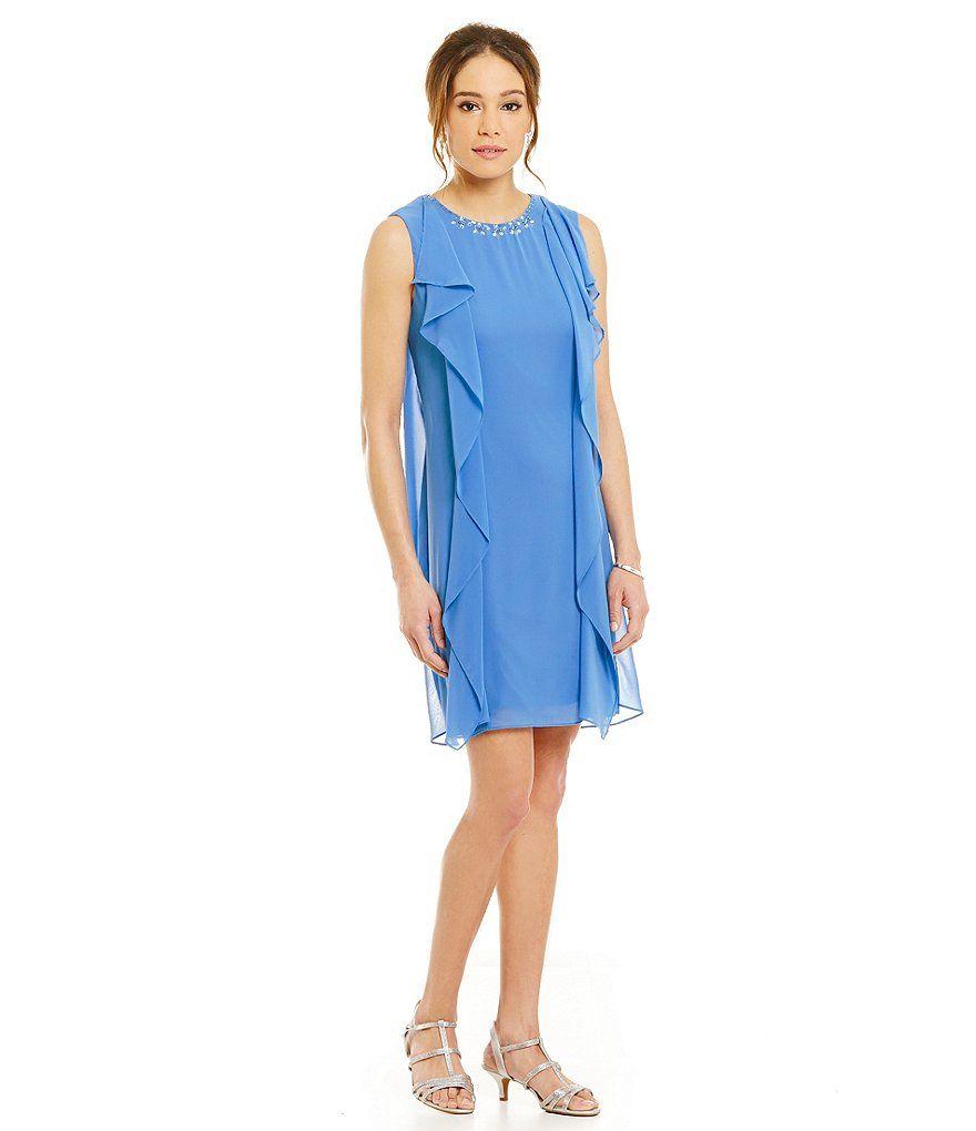 Sl sl fashion dresses - S L Fashions Bead Neck Hanky Hem Dress