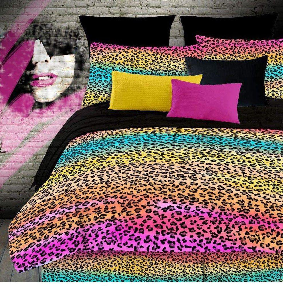 Pink leopard print bedding - Veratex Girls Pink Rainbow Leopard Print Bedding Comforter Set All Sizes W Skirt Veratex