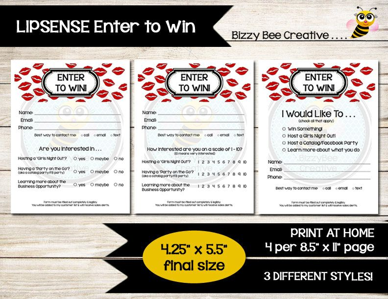 Lipsense  Enter To Win  Raffle Ticket  Drawing Slip  Door