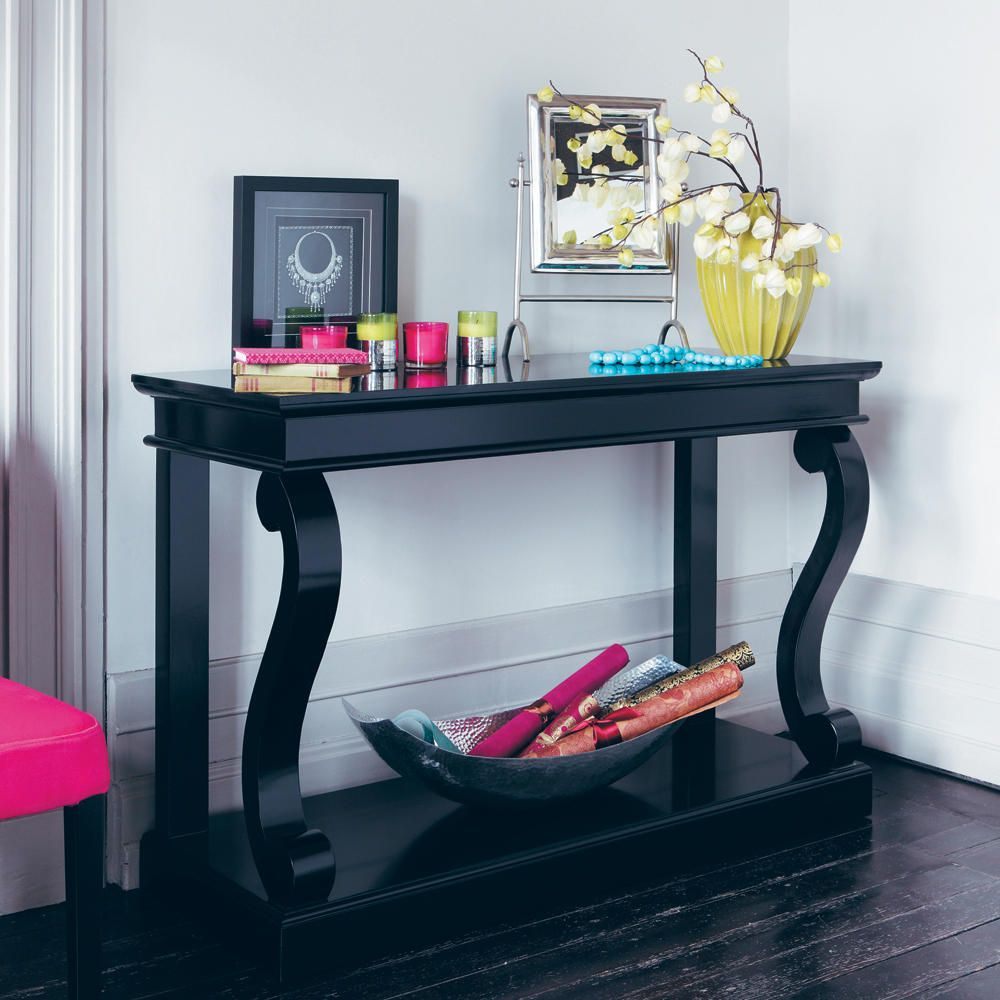table console en pin massif noire bouleau maison du. Black Bedroom Furniture Sets. Home Design Ideas