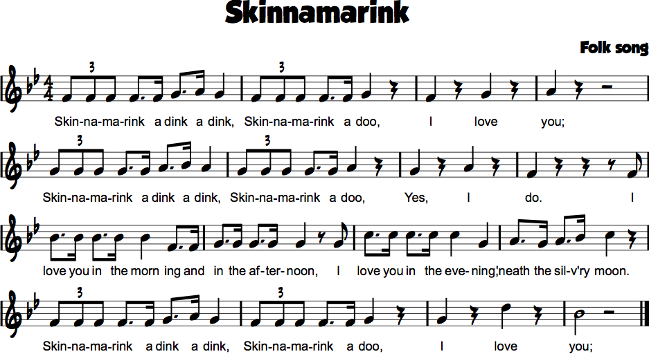 Skinnamarink | Gr 1 music | Pinterest