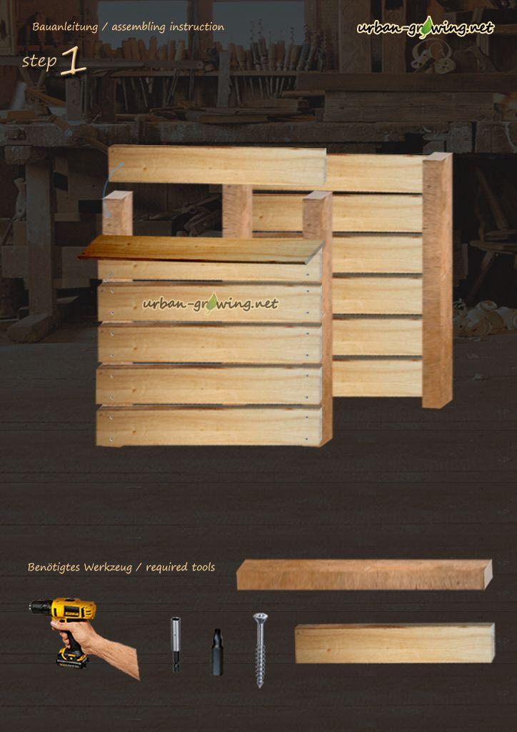 bauanleitung komposter schritt1 komposter und m lltonnenverkleidung pinterest kompost. Black Bedroom Furniture Sets. Home Design Ideas