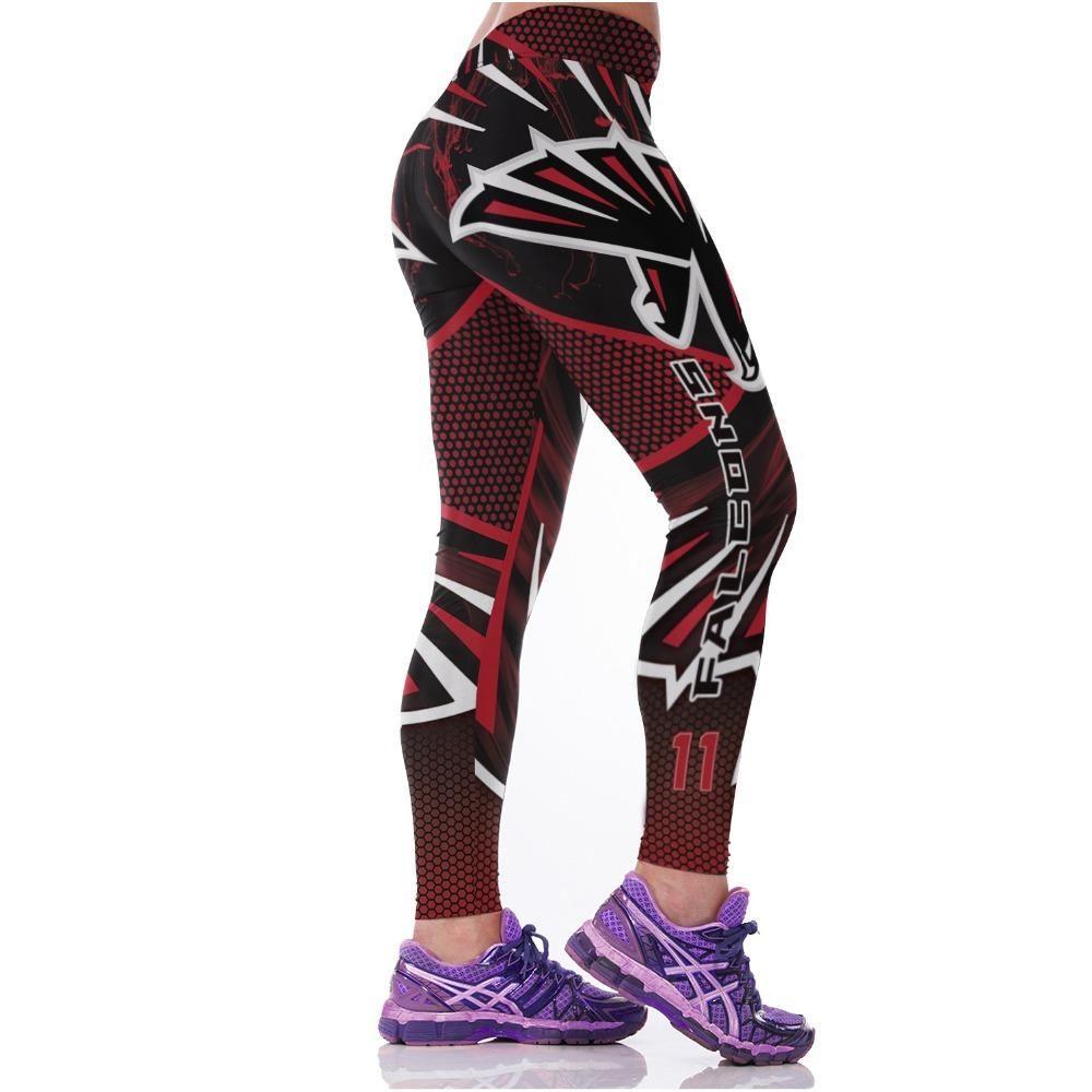 2016 Women American Football Pattern 3d Leggings Stretch: Women's NFL Atlanta Falcons Team Leggings In 2019