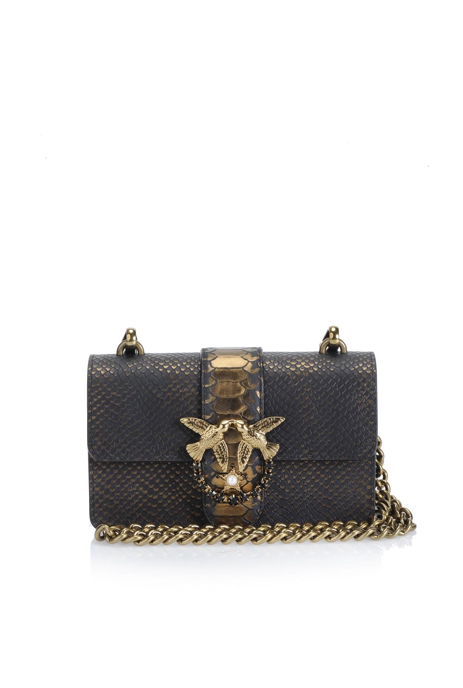 231506f32d483 Python print leather Mini Love Bag Bronze