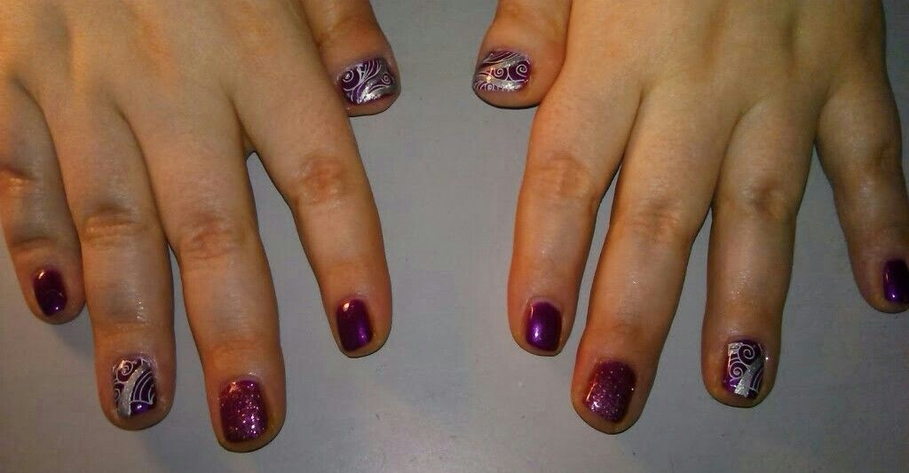 Swirl Design Nails Acrylic Nails With Stamped Nail Art And Gel Top